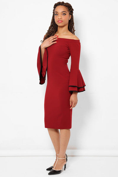 Large Flared Sleeves Burgundy Midi Dress-SinglePrice