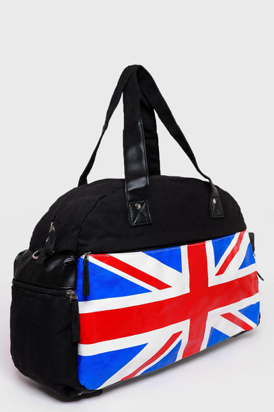 UK Flag Print Canvas Large Travel Bag-SinglePrice