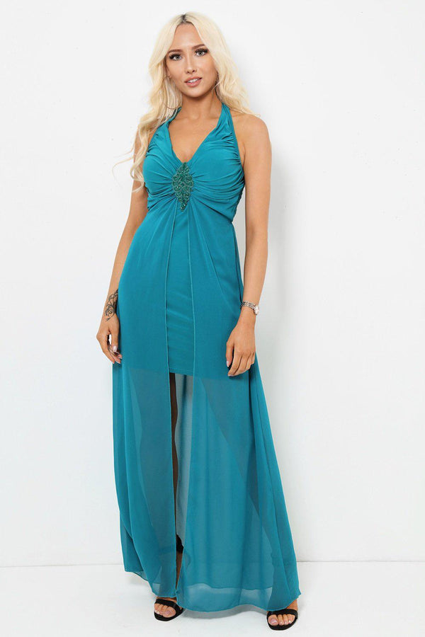 Green Chiffon Skirt Halter Neck Maxi Dress-SinglePrice