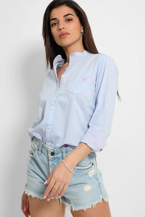 Sky Blue Embroidered Chest Pocket Shirt