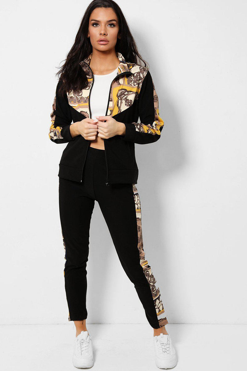 Mixed Yellow Baroque Prints Black 2 Piece Tracksuit - SinglePrice