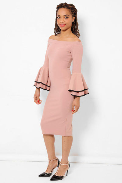 Large Flared Sleeves Peach Midi Dress-SinglePrice