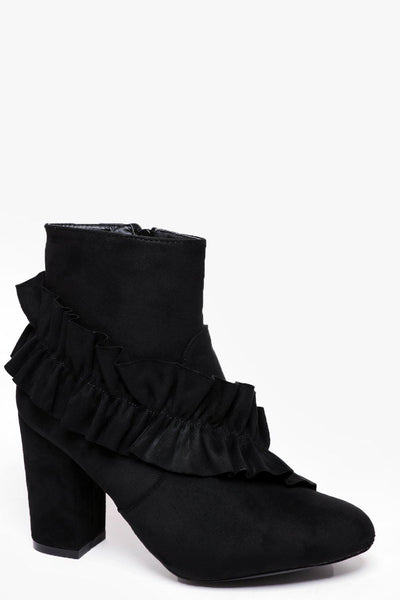 Frilled Black Suedette Ankle Boots-SinglePrice