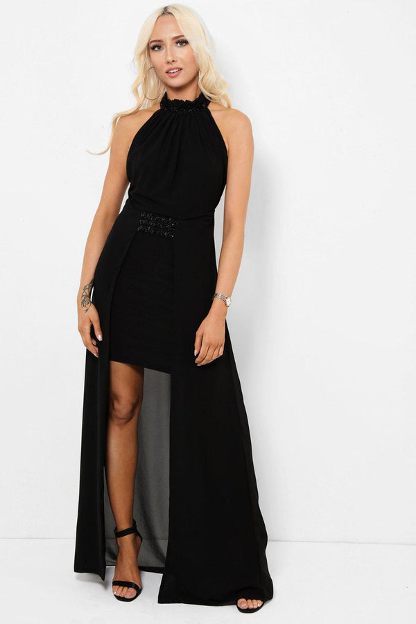 Embellished Details Black Chiffon Skirt Maxi Dress-SinglePrice