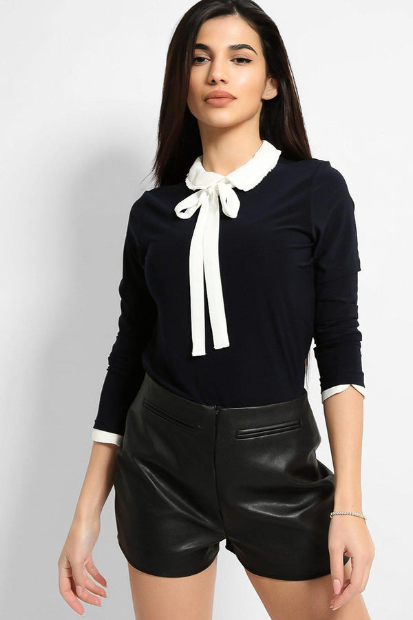 Navy Bow Shirt Insert Top - SinglePrice