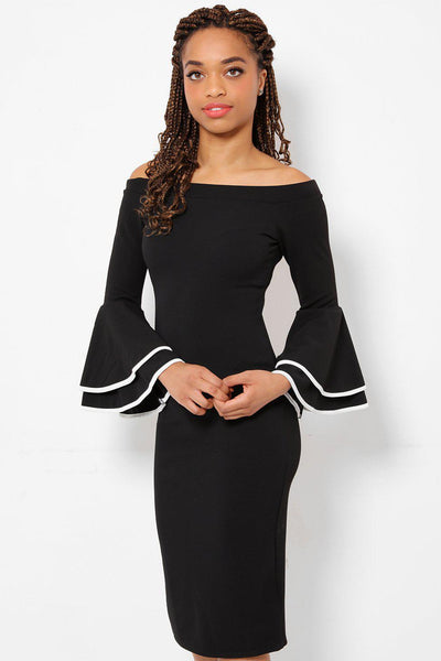 Large Flared Sleeves Black Midi Dress-SinglePrice
