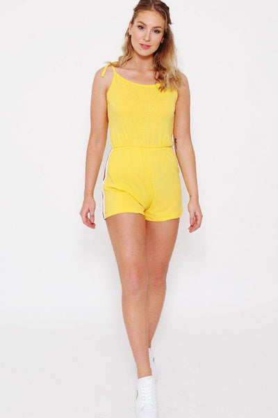 Yellow Shoulder Tie Up Playsuit-SinglePrice