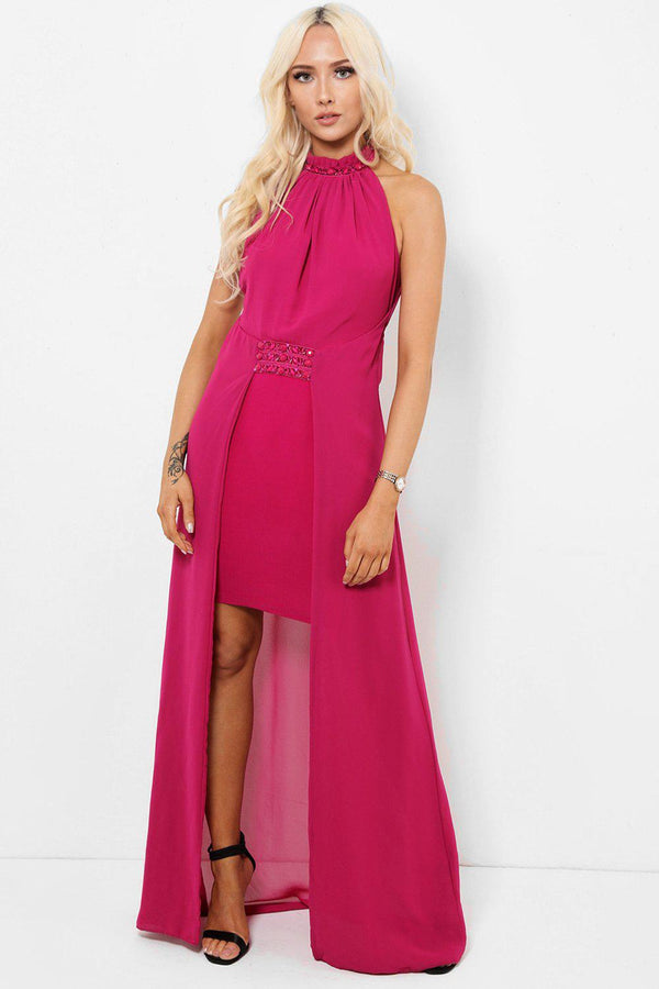 Embellished Details Purple Chiffon Skirt Maxi Dress-SinglePrice