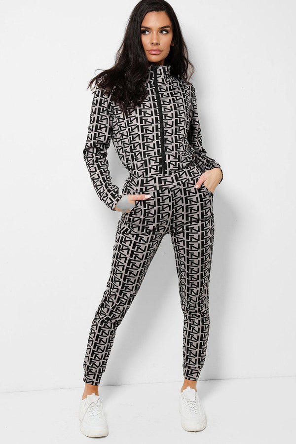 Black Letters Print Grey Two Piece Tracksuit
