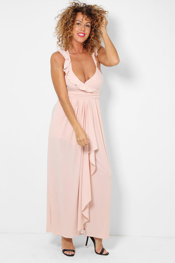 Ruffle Straps Nude Pink Maxi Dress