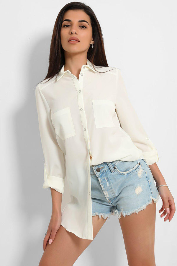 Cream Lightweight Buttoned Front Shirt