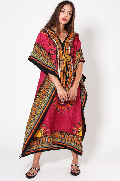 Light Purple Printed Drawstring Cotton Maxi Kaftan-SinglePrice