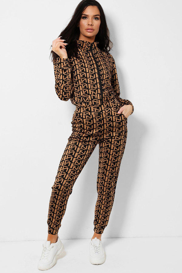 Black Letters Print Brown Two Piece Tracksuit
