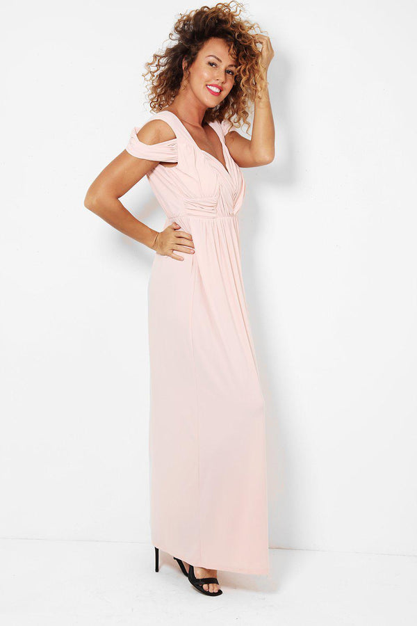 Cold Shoulders Slinky Nude Pink Maxi Dress