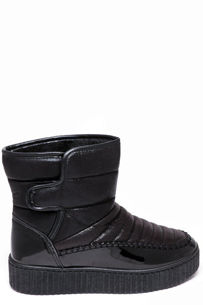 Black Metallic Shimmer Snow Boots-SinglePrice