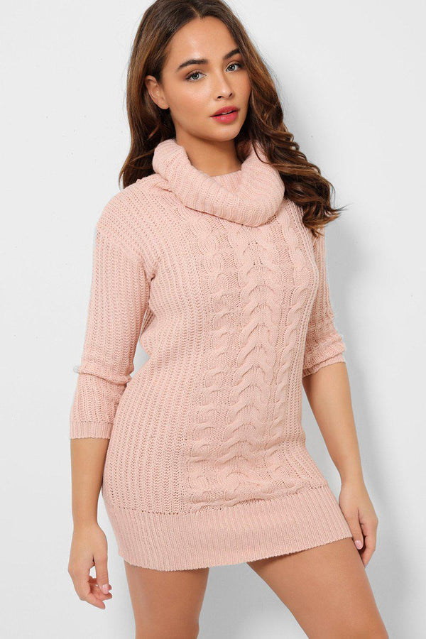 Pink Chunky Cable Knit Turtleneck Jumper Dress-SinglePrice