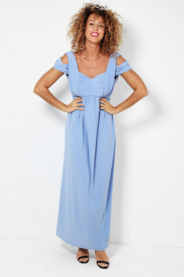 Cold Shoulders Slinky Powder Blue Maxi Dress