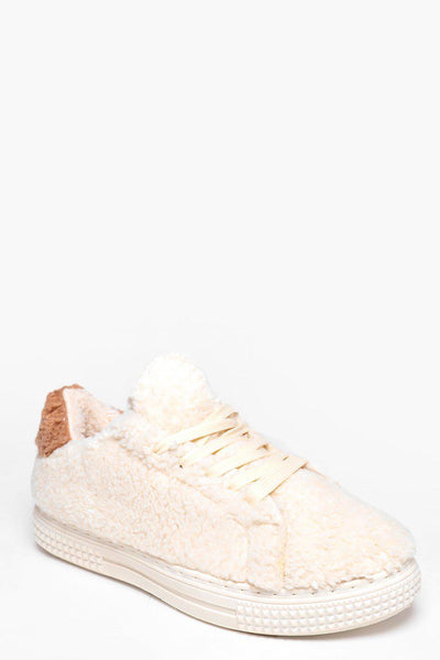 Beige Faux Shearling Trainers-SinglePrice
