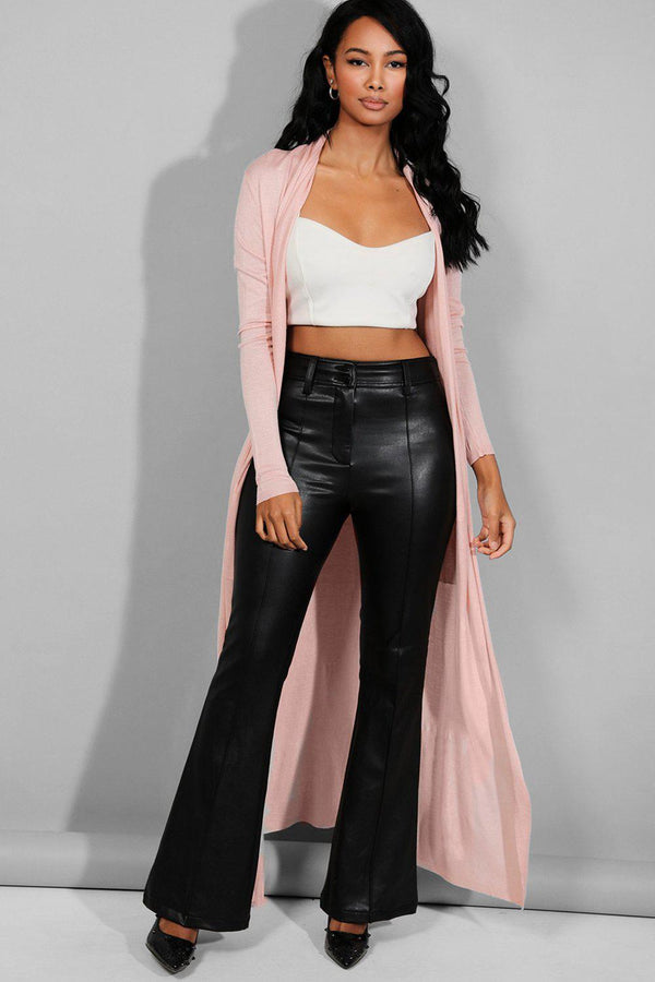 Rose Pink Flat Knit Maxi Cardigan
