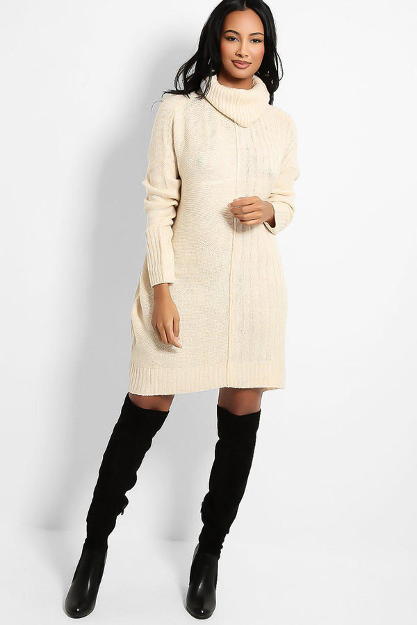 Cream Front Seam Turtleneck Mixed Knit Jumper Dress - SinglePrice