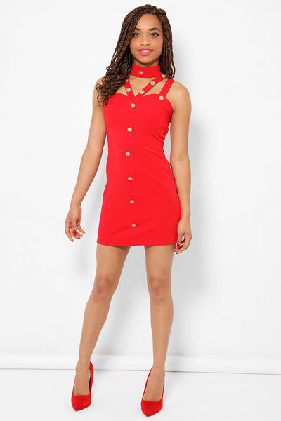 Gold Buttons Details Red Dress-SinglePrice