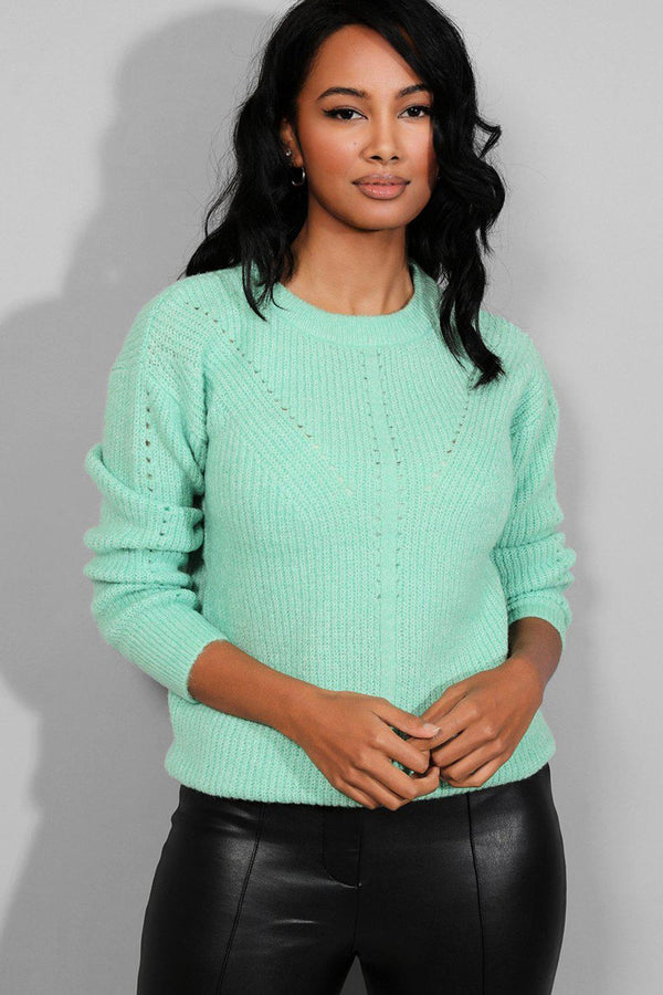 Green Perforated Details Ribbed Soft Pullover-SinglePrice