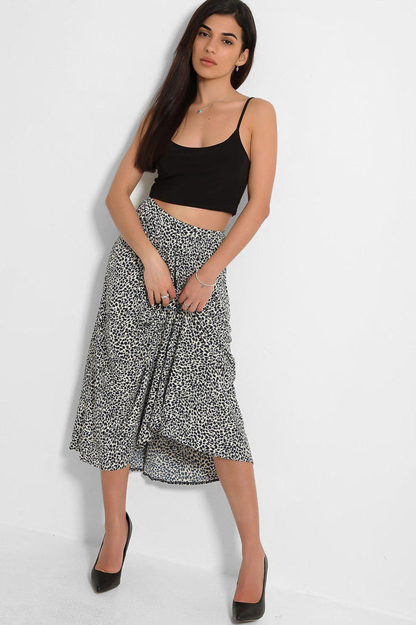 Black Beige Animal Print Lightweight Midi Skirt
