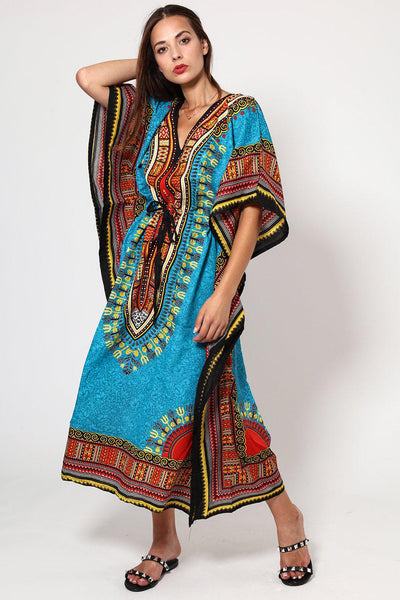Light Blue Printed Drawstring Cotton Maxi Kaftan-SinglePrice