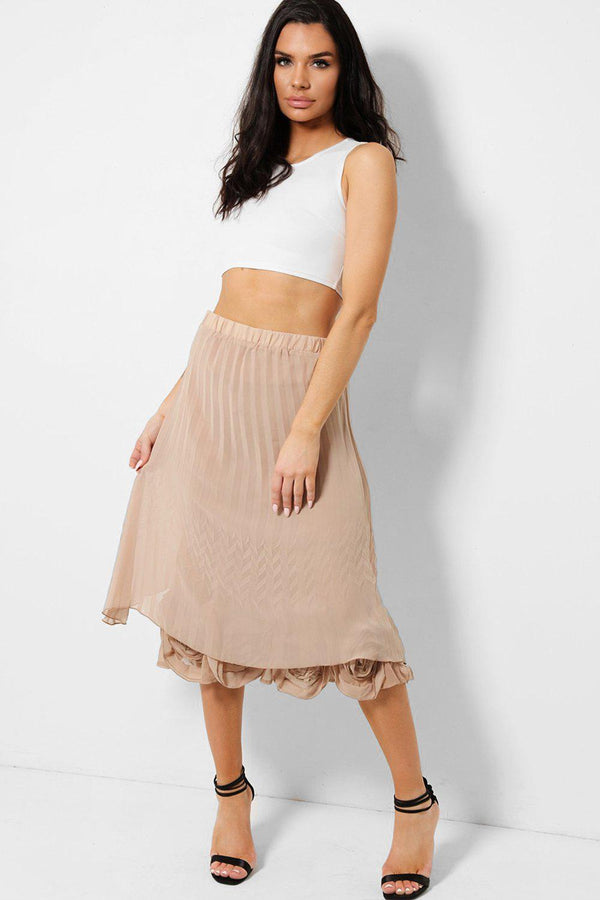 Beige Layered Floral Hem Pleated Midi Skirt - SinglePrice