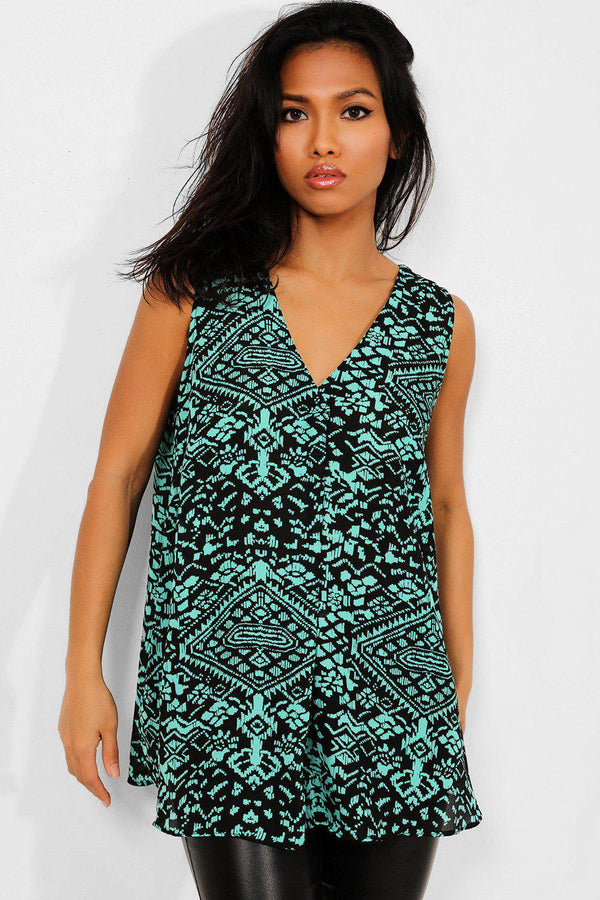 Green Aztec Print Sleeveless Top - SinglePrice