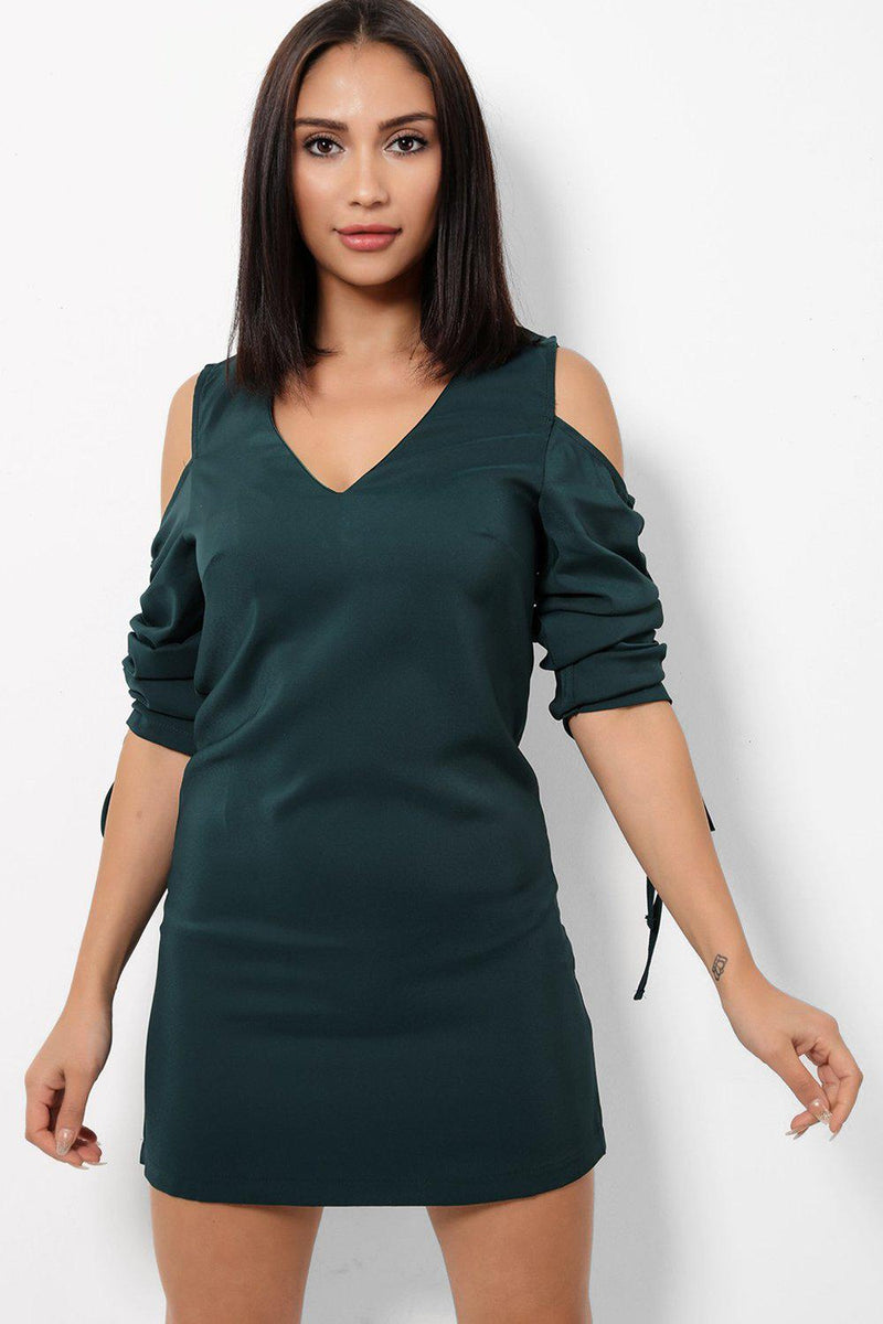 Green Drawstring Sleeve Cold Shoulder Dress - SinglePrice