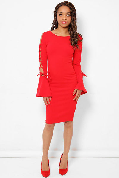 Flared Open Laced Sleeves Red Dress-SinglePrice