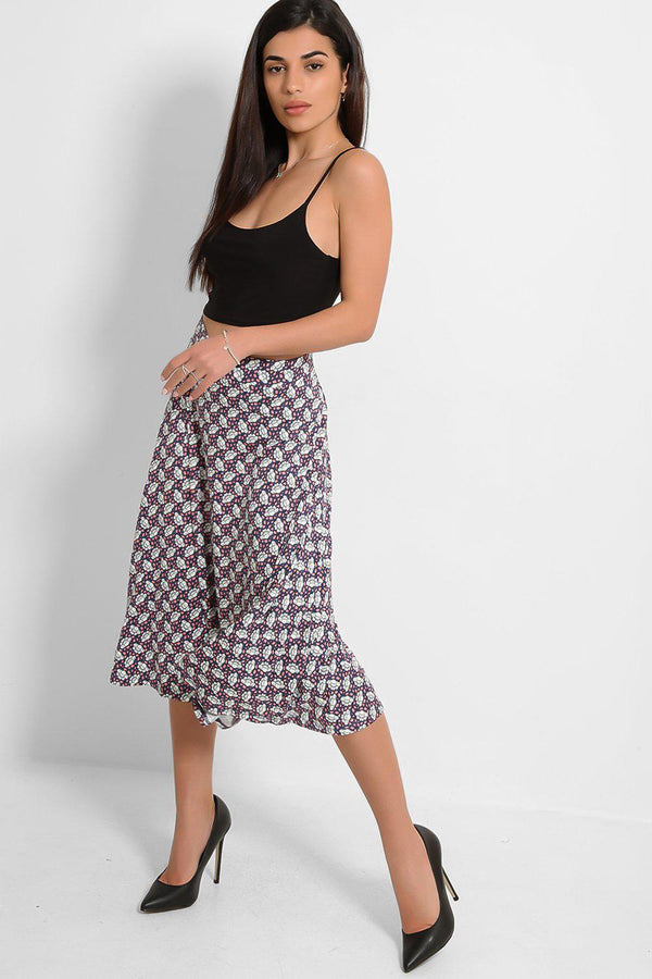White Pink Ross Print Lightweight Midi Skirt