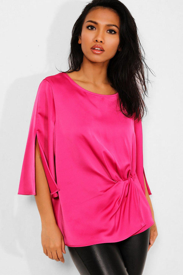 Hot Pink Knot Front Sleeves Split Blouse - SinglePrice