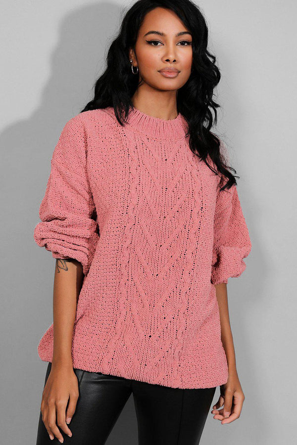 Pink Bleached Velvet Chunky Cable Knit Jumper