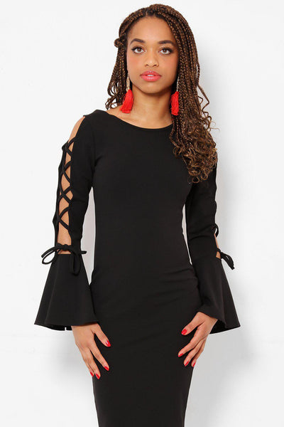 Flared Open Laced Sleeves Black Dress-SinglePrice