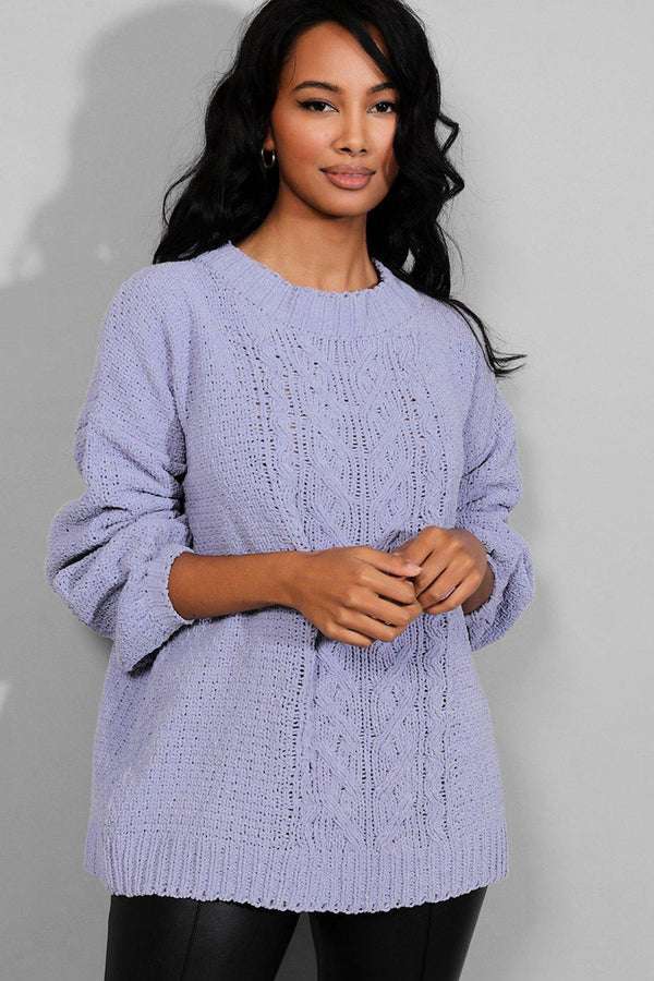 Lilac Bleached Velvet Chunky Cable Knit Jumper