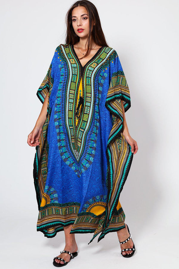 Dark Blue Printed Drawstring Cotton Maxi Kaftan