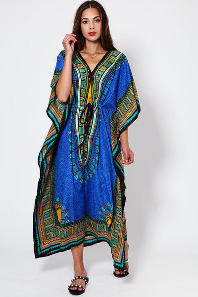 Dark Blue Printed Drawstring Cotton Maxi Kaftan-SinglePrice