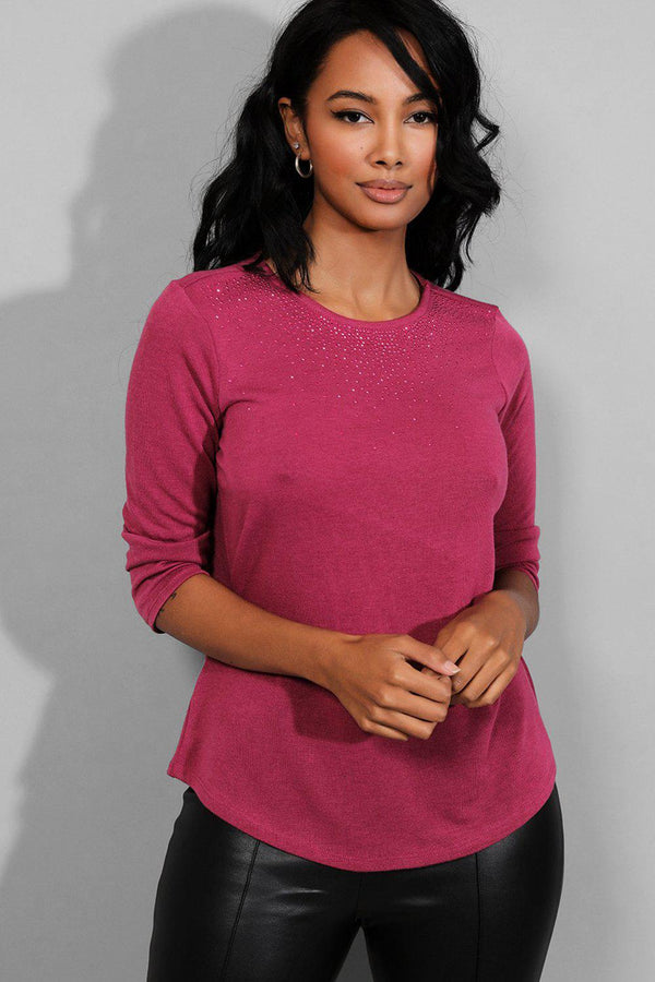 Purple Crystals Embellished Lightweight Knit Pullover - SinglePrice