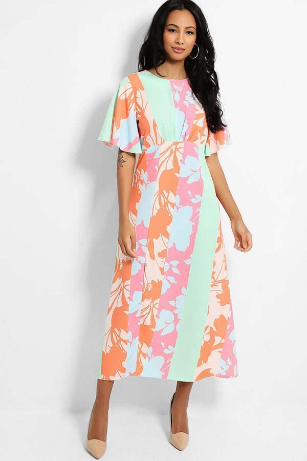 Pastel Multicolour Floral Print Thigh Split Midaxi Tea Dress-SinglePrice