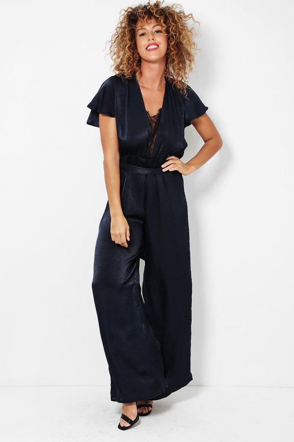 Fine Lace Inserts Navy Wide Leg Jumpsuit