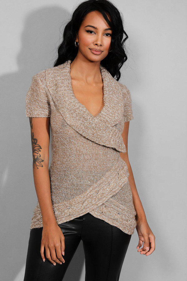 Light Brown Mock Wrap Pullover-SinglePrice