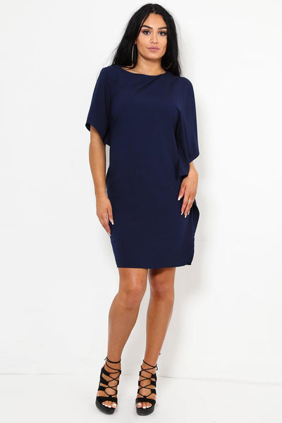 Asymmetric Sleeves Navy Dress-SinglePrice