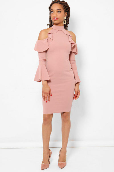 Ruffled Cold Shoulder Peach Bodycon Dress-SinglePrice