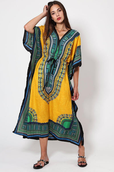 Yellow Printed Drawstring Cotton Maxi Kaftan-SinglePrice