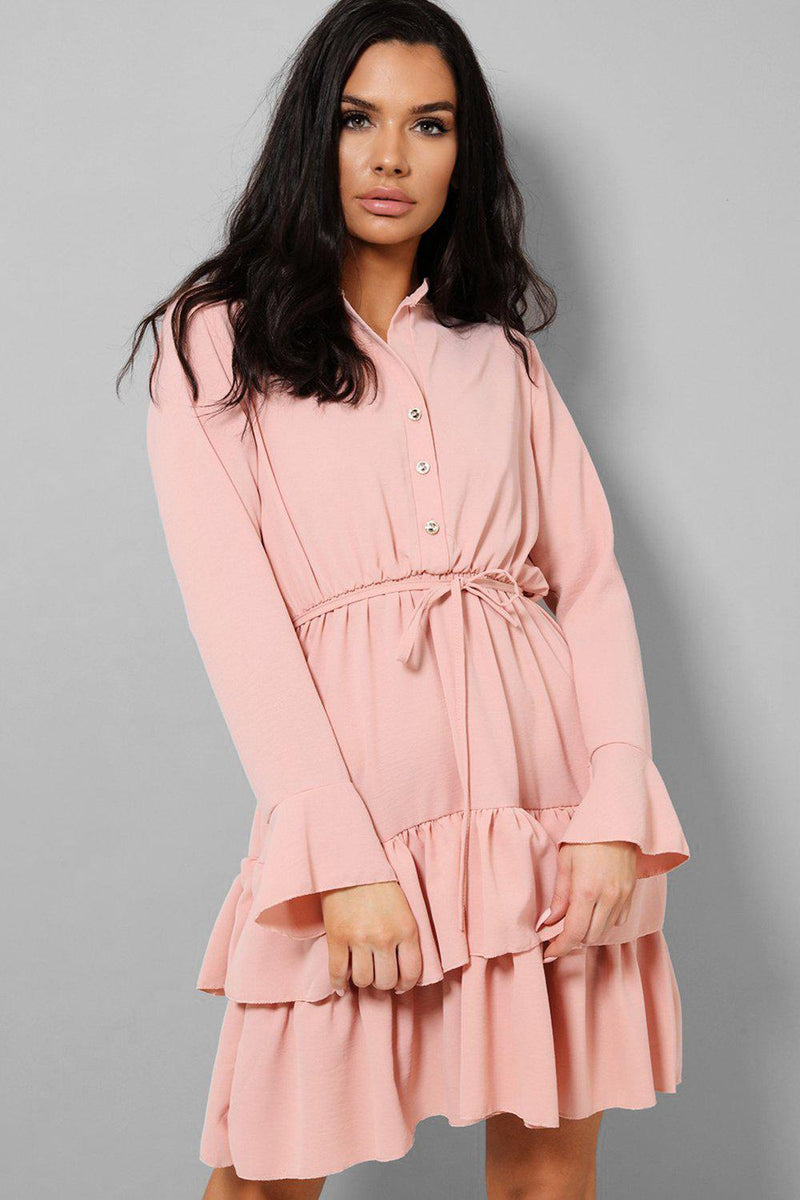 Pink Button Front Flute Sleeves Layered Mini Dress - SinglePrice
