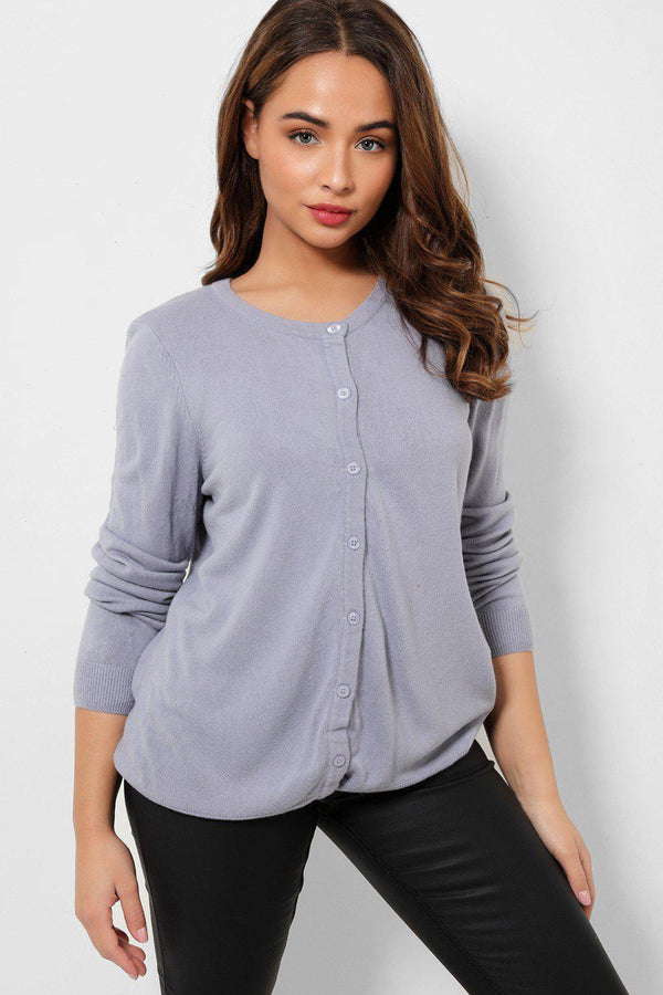 Blue Button Front Soft Flat Knit Cardigan-SinglePrice