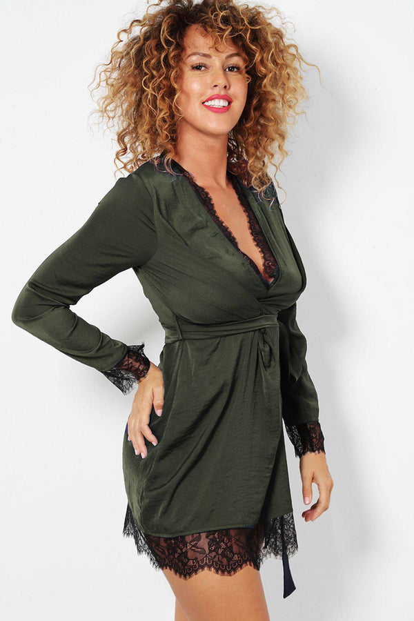 Khaki Eyelash Lace Trim Plunge Satin Wrap Dress