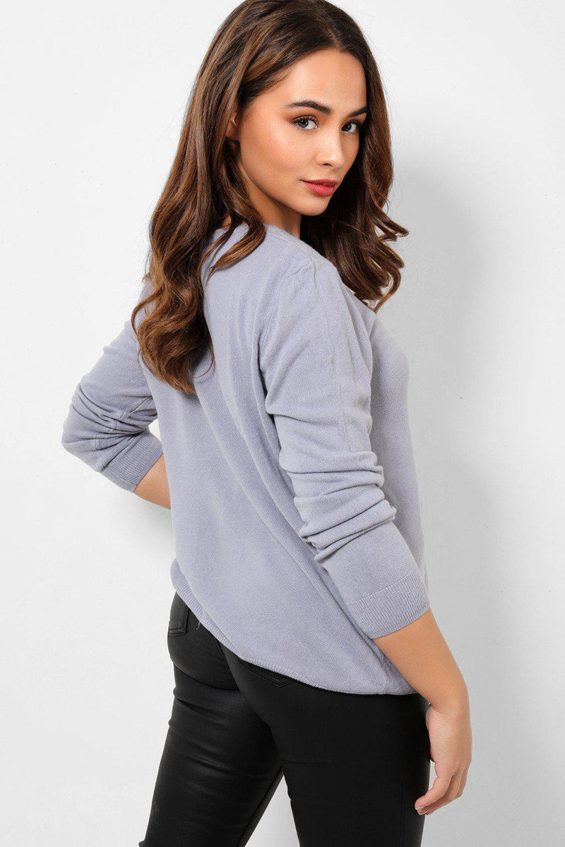 Blue Button Front Soft Flat Knit Cardigan - SinglePrice